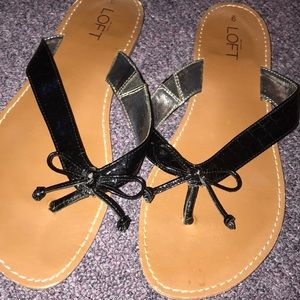 black bow flip flops